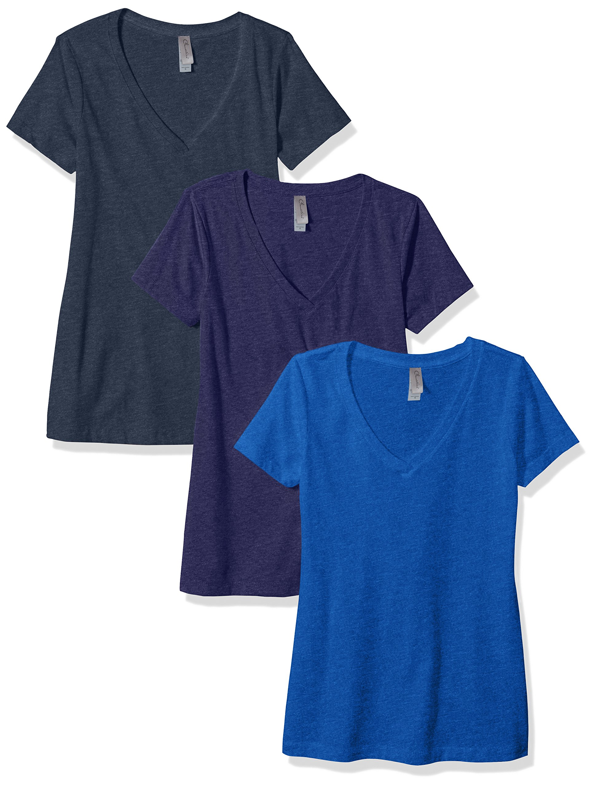 Clementine Apparel Women's Petite Plus Deep V Neck Tee (Pack of 3), Storm/Midnight Navy/Royal, M