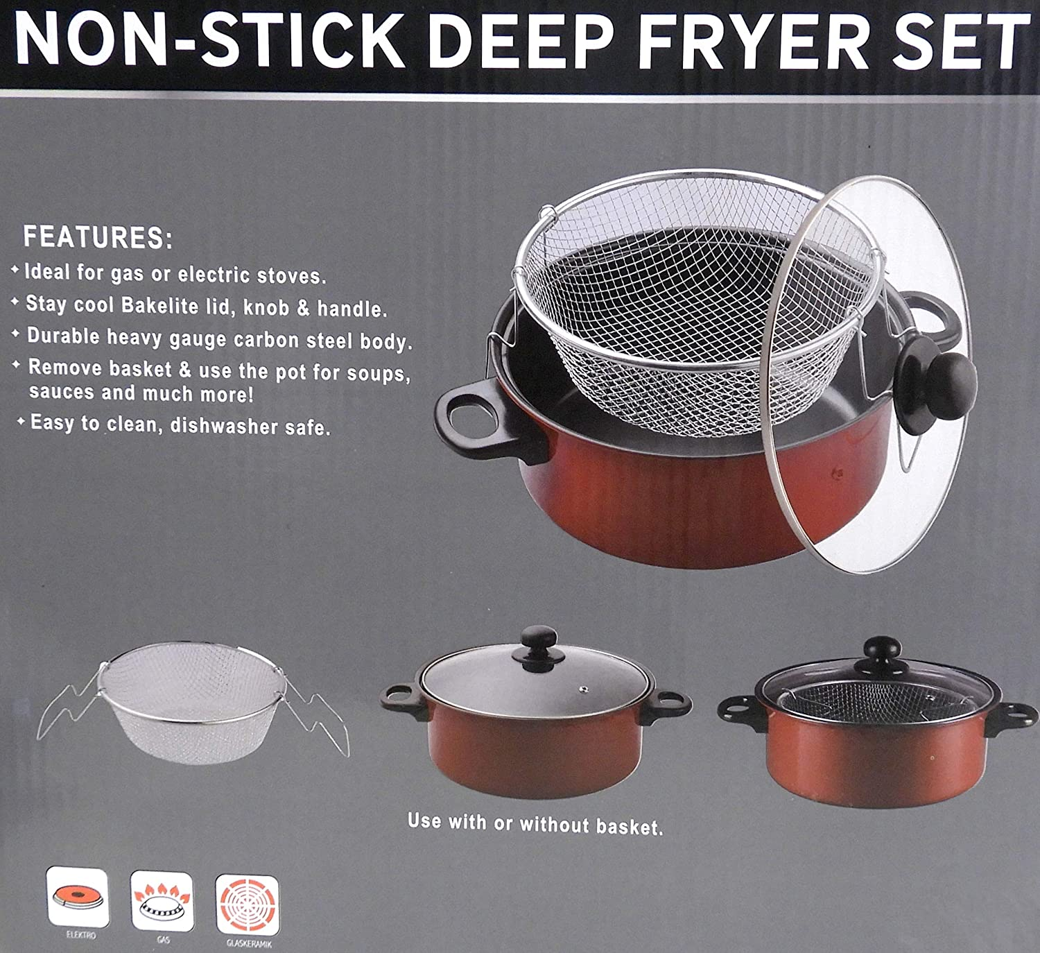 Amazon.com: Gourmet Non Stick Deep Fryer with Frying Basket and Glass Cover Steamer Cooker Frier: Kitchen & Dining