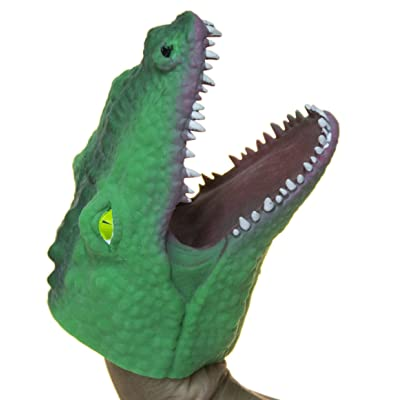 Fun Stuff Soft Rubber Realistic 6 Inch Alligator Hand Puppet (Dark Green): Toys & Games