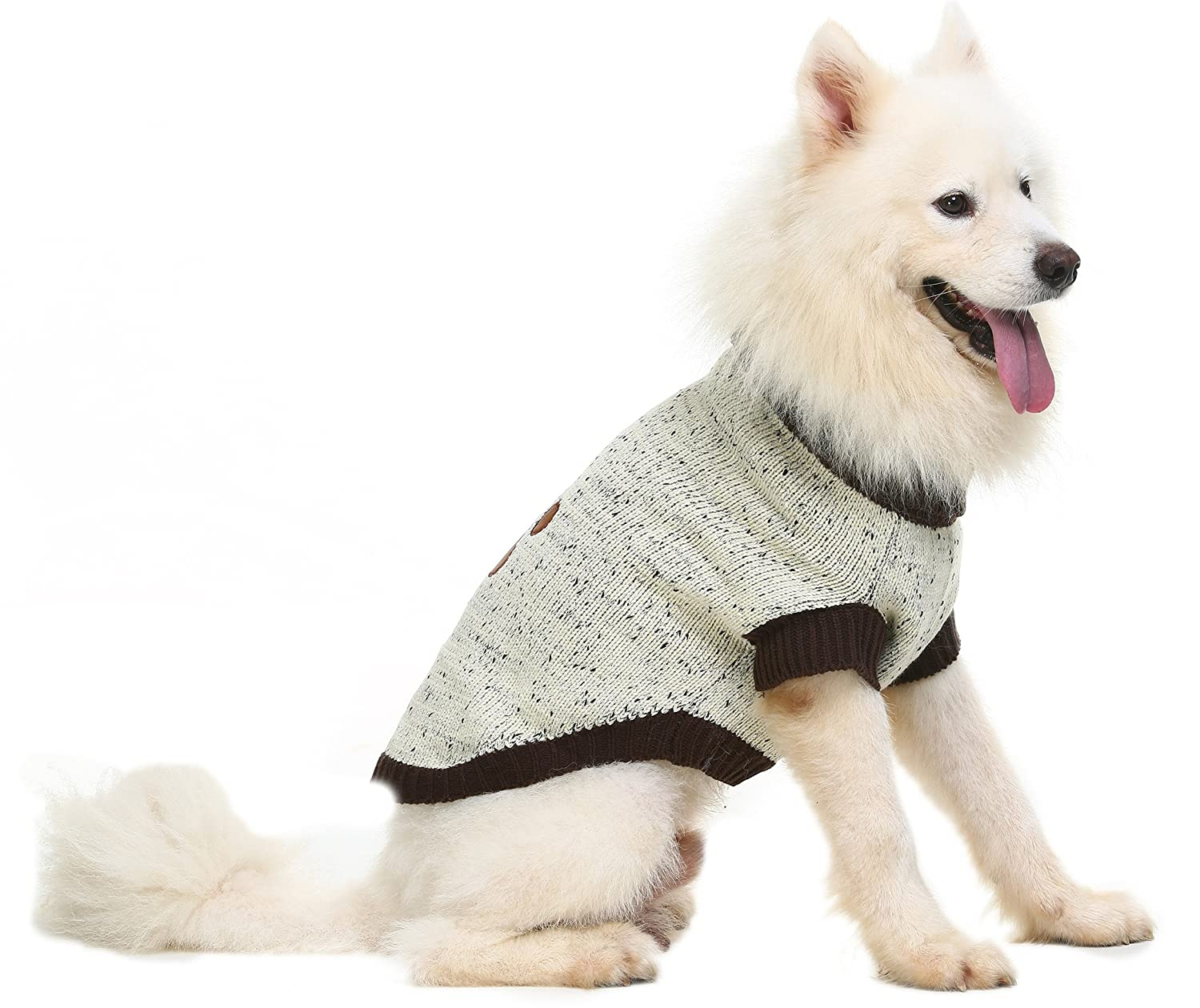 Does you dog need a sweater?  beige sweater on dog