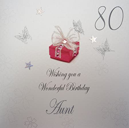 WHITE COTTON CARDS Wishing You A Wonderful Aunt Handmade 80th Birthday Card Red Present
