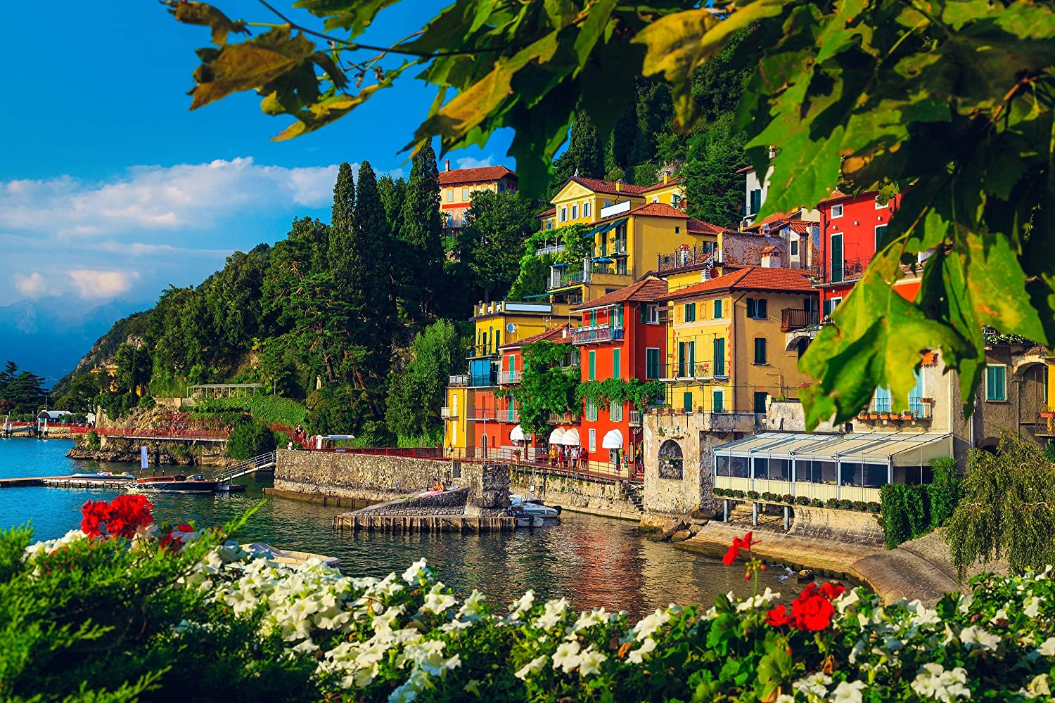 1000 Piece Jigsaw Puzzle of Flowery Garden at Lake Como, Verena, Italy for Adults and Kids - Puzzle with Colorful Poster - Precise Non-Slip Interlocking