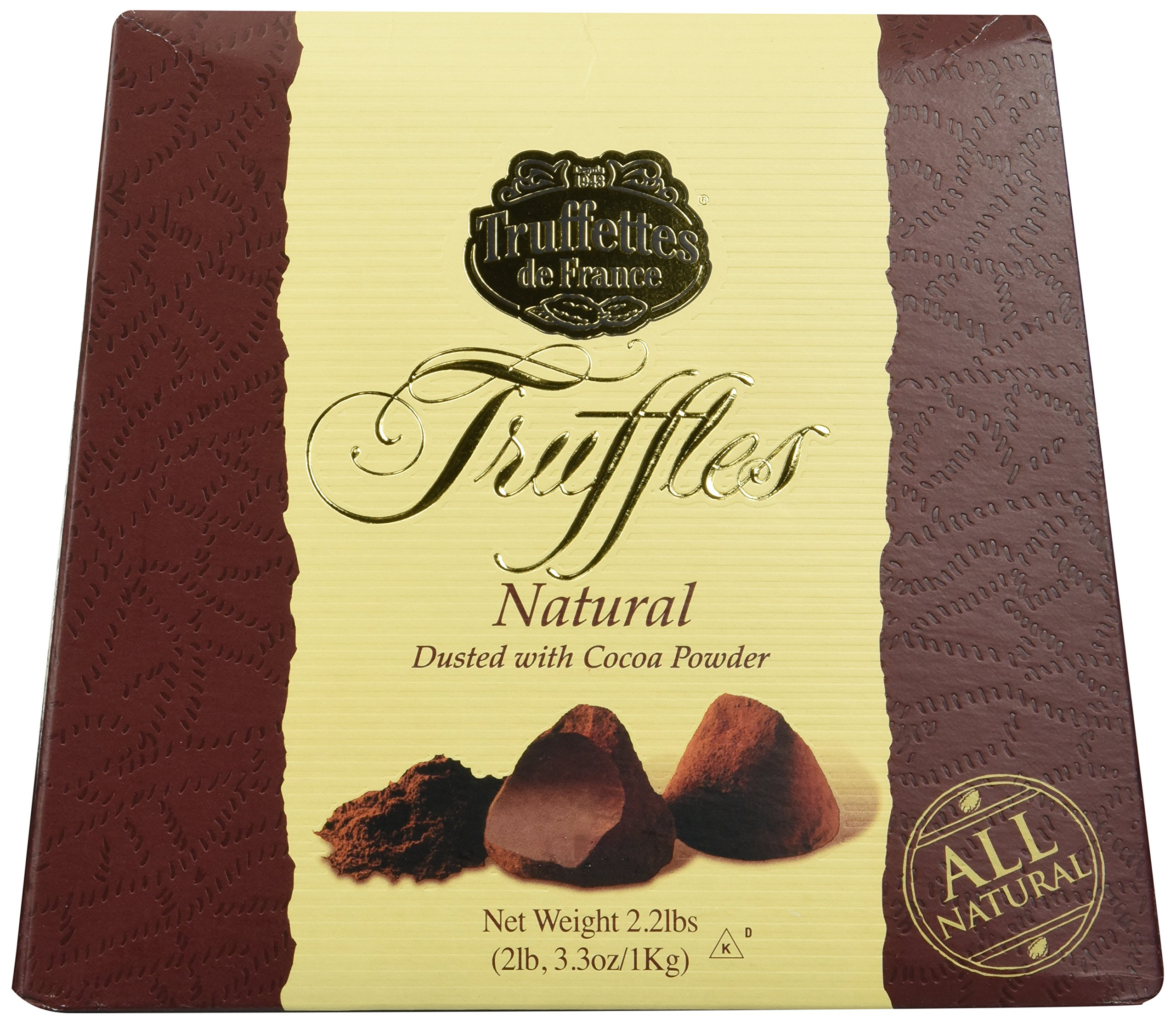 Chocmod Truffettes de France 2.2lbs (1Kg) All Natural Truffles in a Elegant Gift Box by Chocmod
