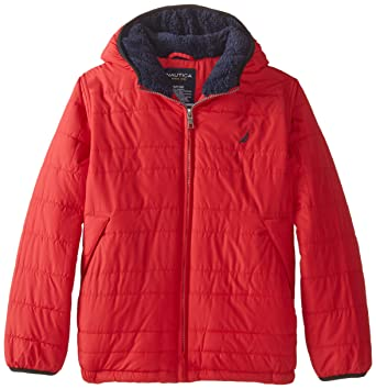 09d55af13 Amazon.com  Nautica Big Boys  Puffer Coat with Faux Sherpa Lining ...