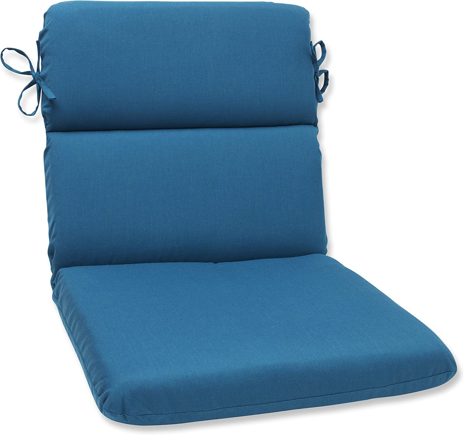 Pillow Perfect Indoor Outdoor Rounded Corners Chair Cushion with Sunbrella Spectrum Peacock Fabric, 40.5 in. L X 21 in. W X 3 in. D