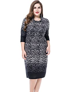 5f733c8c075 Chicwe Women s Plus Size Cashmere Touch Printed Cowl Neck Dress - Knee  Length Work and Casual