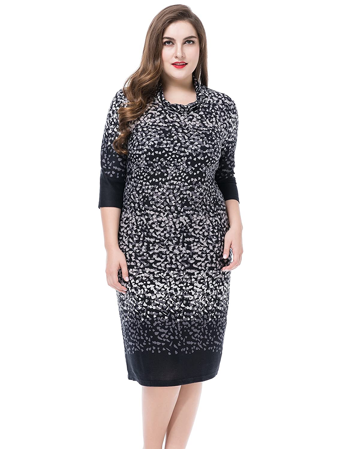 Chicwe Women's Cowl Neck Printed Cashmere Touch Plus Size Dress US12-28 C15C030