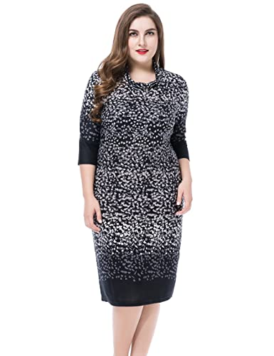 Chicwe Women's Cowl Neck Printed Cashmere Touch Plus Size Dress US12-28
