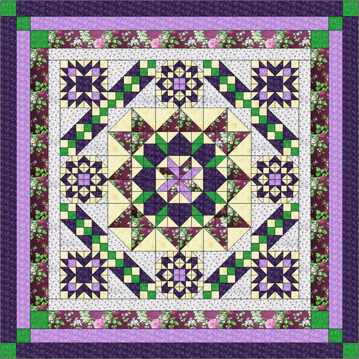 Quilt Kit Hexagon Stars, Purples/Queen
