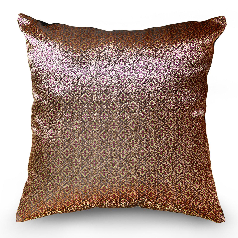 Handmade Throw Pillow Covers Art Thai silk design Thread 16''x16'' RedPink Tone