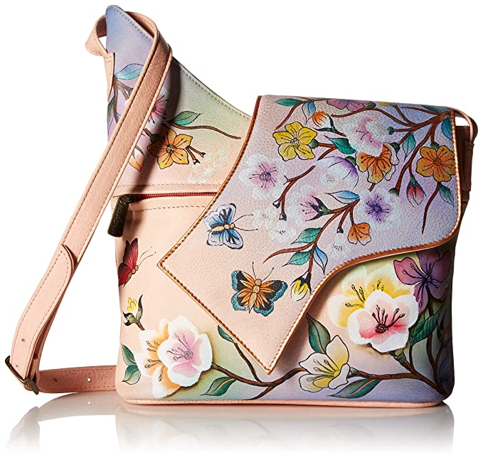 Asymmetric Leather Women's Flap Hand Anuschka Bag Painted Small vYf67mIgyb