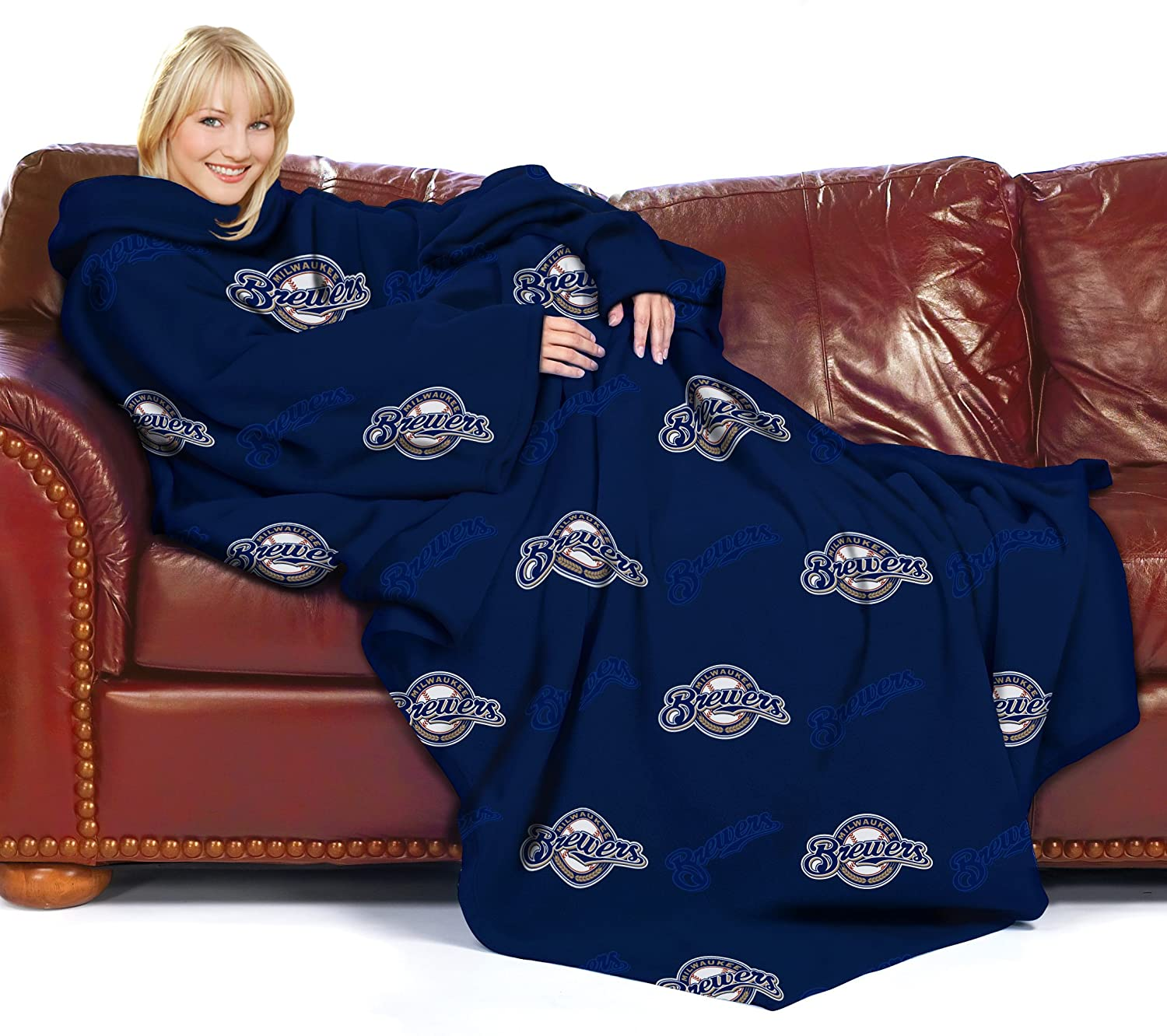 Amazon.com : MLB Milwaukee Brewers Comfy Throw Blanket with Sleeves ...