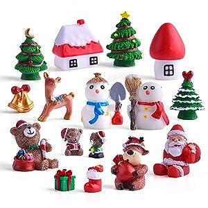 Zealor Christmas Miniature Ornaments Kit Fairy Garden Dollhouse Decoration