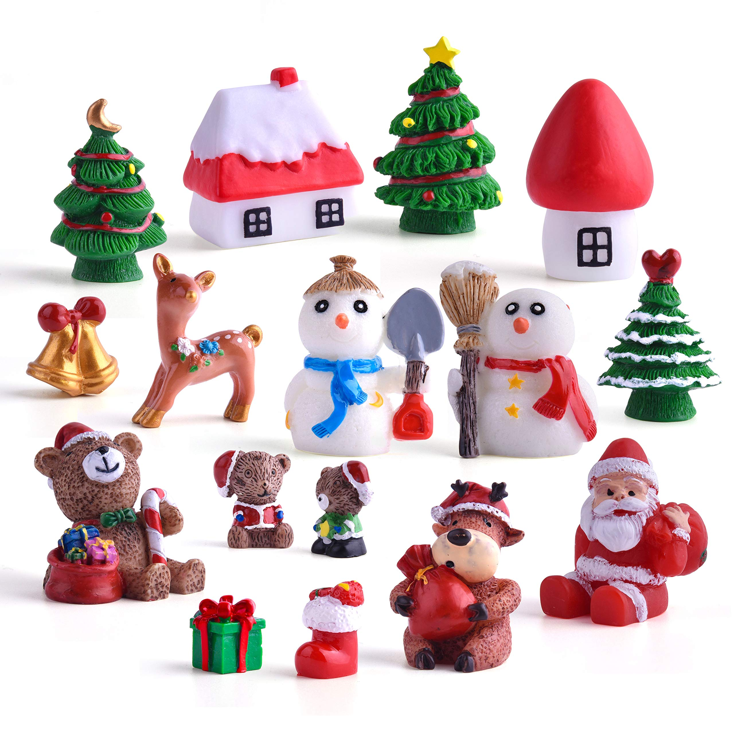 Benvo 32 Pcs Christmas Miniature Ornaments for DIY Fairy Garden Dollhouse Snow Globes Xmas Decoration Kit DIY Accessory Includes Santa,Christmas Trees,Snowman,Snowflake,Red Socks,Reindeer etc