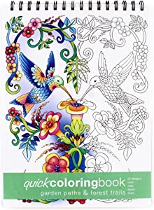 Action Publishing Quick Coloring Book: Garden Paths & Forest Trails · Easy To Color Illustrations of Forest Plants and Animals for Stress Relief, Relaxation and Creativity · Large (8.6 x 11.75 inches)