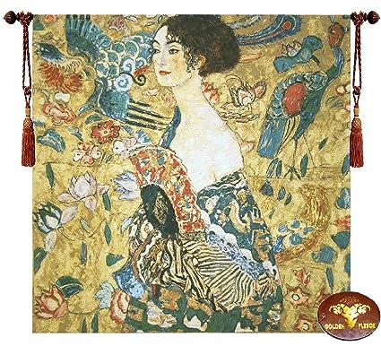 Amazon.com: Beautiful Lady with Fan Fine Tapestry Jacquard Woven ...