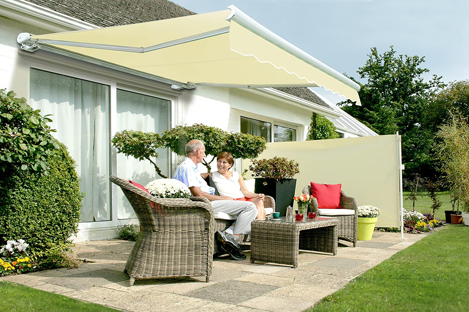 3 0m full cassette electric awning ivory 3m amazon co uk