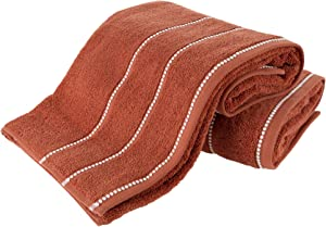 Luxury Cotton Towel Set- 2 Piece Bath Sheet Set Made From 100% Zero Twist Cotton- Quick Dry, Soft and Absorbent By Lavish Home (Brick / White)