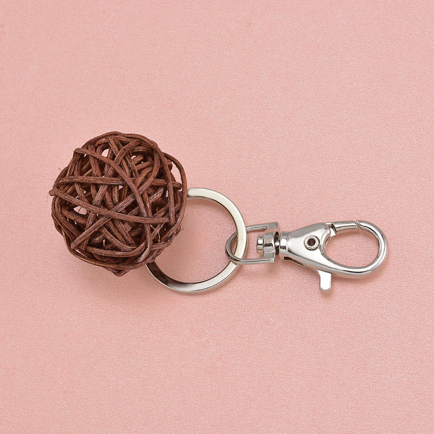100 Pcs Metal Swivel Clasps Lanyard Snap Hook Lobster Claw Clasp Jewelry Findings with Key Chain Rings