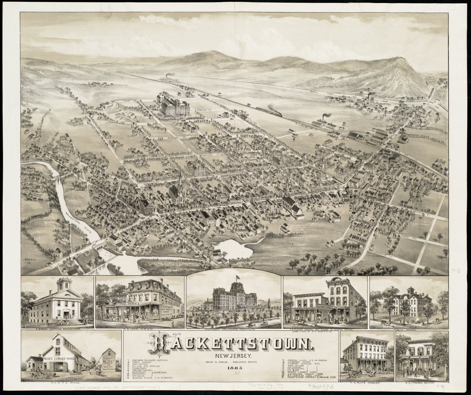Historic Map   1883 Hackettstown : New Jersey   Antique Vintage Reproduction