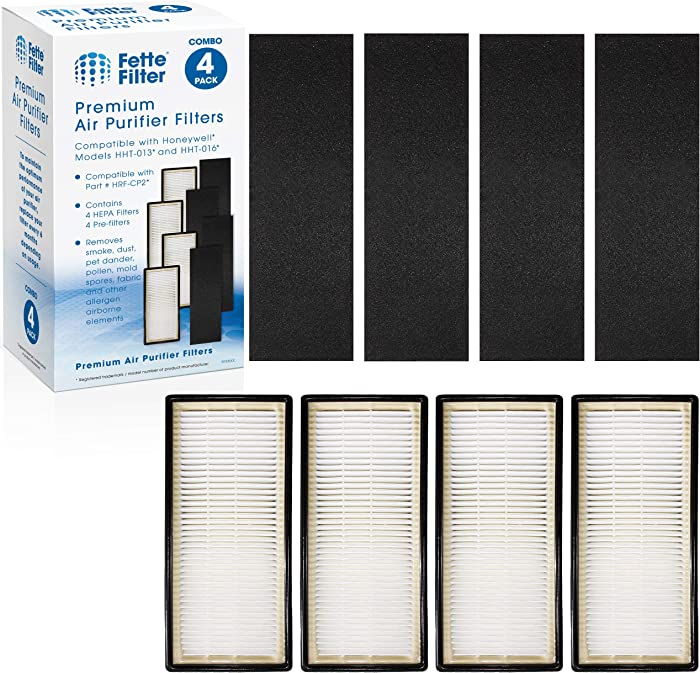 Fette Filter - Air Purifier Filter Compatible with Honeywell HEPAClean Air Purifier Replacement Filter C Pack of 4 HEPA + 4 Pre-Filters for Models HHT-080, HHT-081, HHT-085, HHT-090, HHT-145, HHT-149