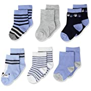Rene Rofe Baby Baby Newborn and Infant 6 Pack Socks, blue, 0-9 Months