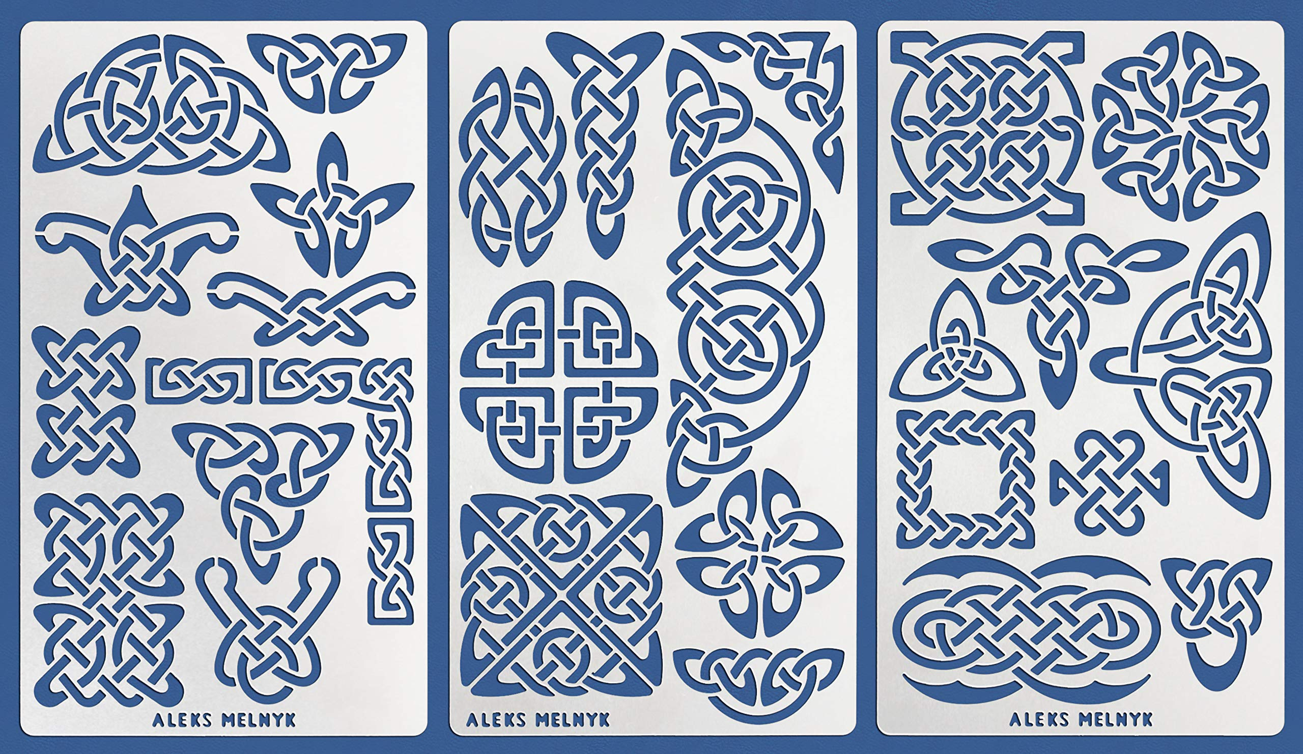 Aleks Melnyk #37 Metal Journal Stencils/Celtic Knot Set/Stainless Steel Stencils Kit 3 PCS/Templates Tool for Wood Burning, Pyrography and Engraving/Scrapbooking/Crafting/DIY by Aleks Melnyk