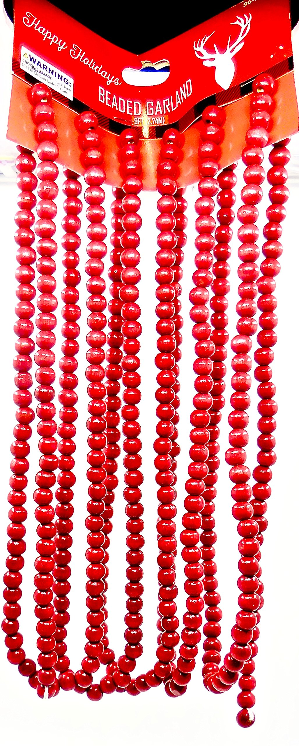 Christmas Red Wood Beaded Garland,9 ft.