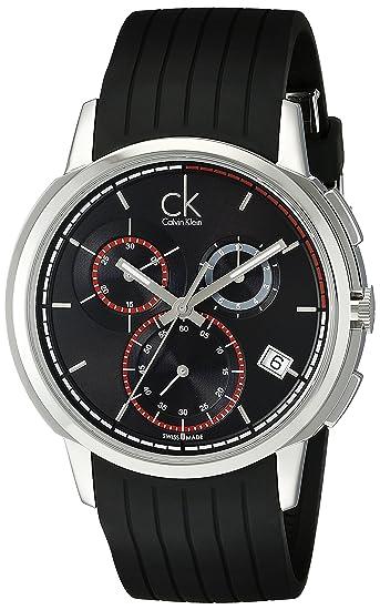 Calvin Klein K1V27704 - Reloj cronógrafo de caballero de cuarzo con correa de goma negra