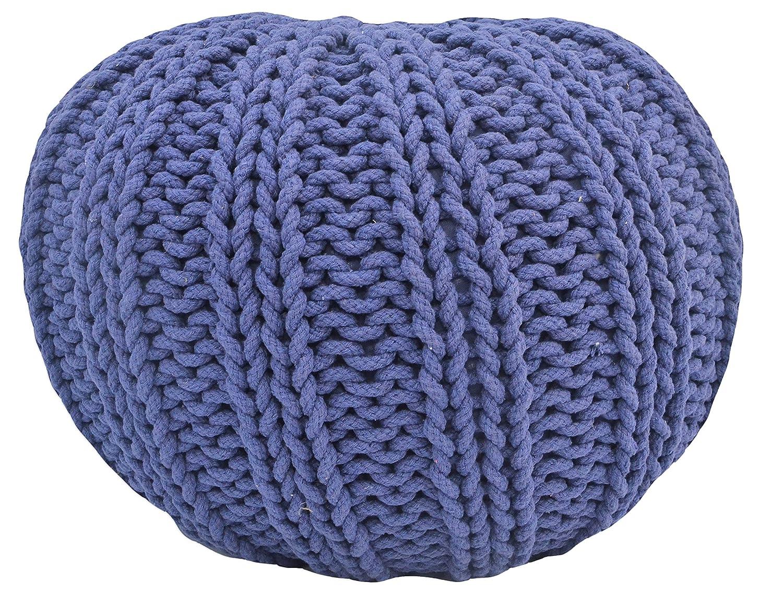 White Rib Stitch Hand Knitted Round Cotton Pouf 16 Inch X 20 Inch X 20 Inch Rugs Beyond