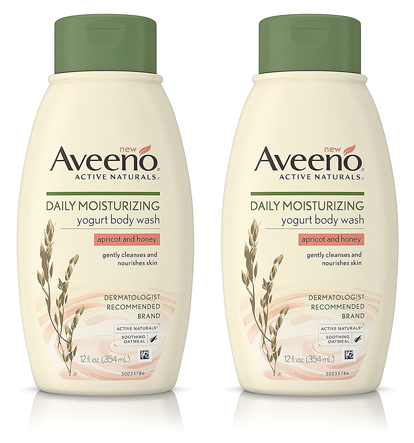 Aveeno Active Naturals Yogurt Body Wash - Apricot & Honey - Net Wt. 12 FL OZ (354 mL) Per Bottle - Pack of 2 Bottles