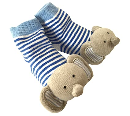 Mud Pie Baby Boys Newborn Elephant Rattle Socks Blue 0 12 Months