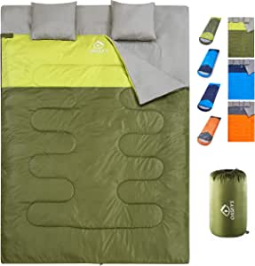 oaskys Camping Sleeping Bag - 3 Season Warm & Cool Weather - Summer, Spring, Fall, Lightweight, Waterproof for Adults & Kids - Camping Gear Equipment, Traveling, and Outdoors (Double Green)