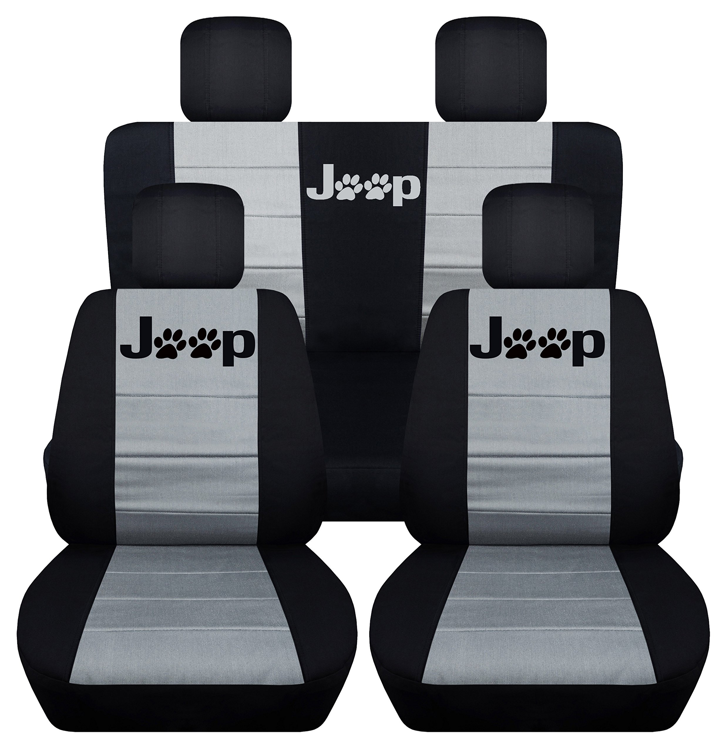 Designcovers Fits 2013 to 2017 Jeep Wrangler 4 Door Paw Print Seat Covers 21 Color Options (Black and Silver)