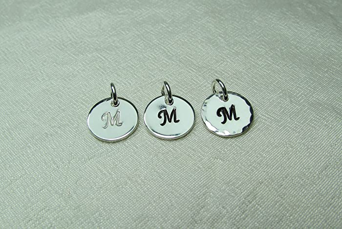 Amazon single small hand stamped initial charm sterling single small hand stamped initial charm sterling silver 38quot disc with letter aloadofball Images