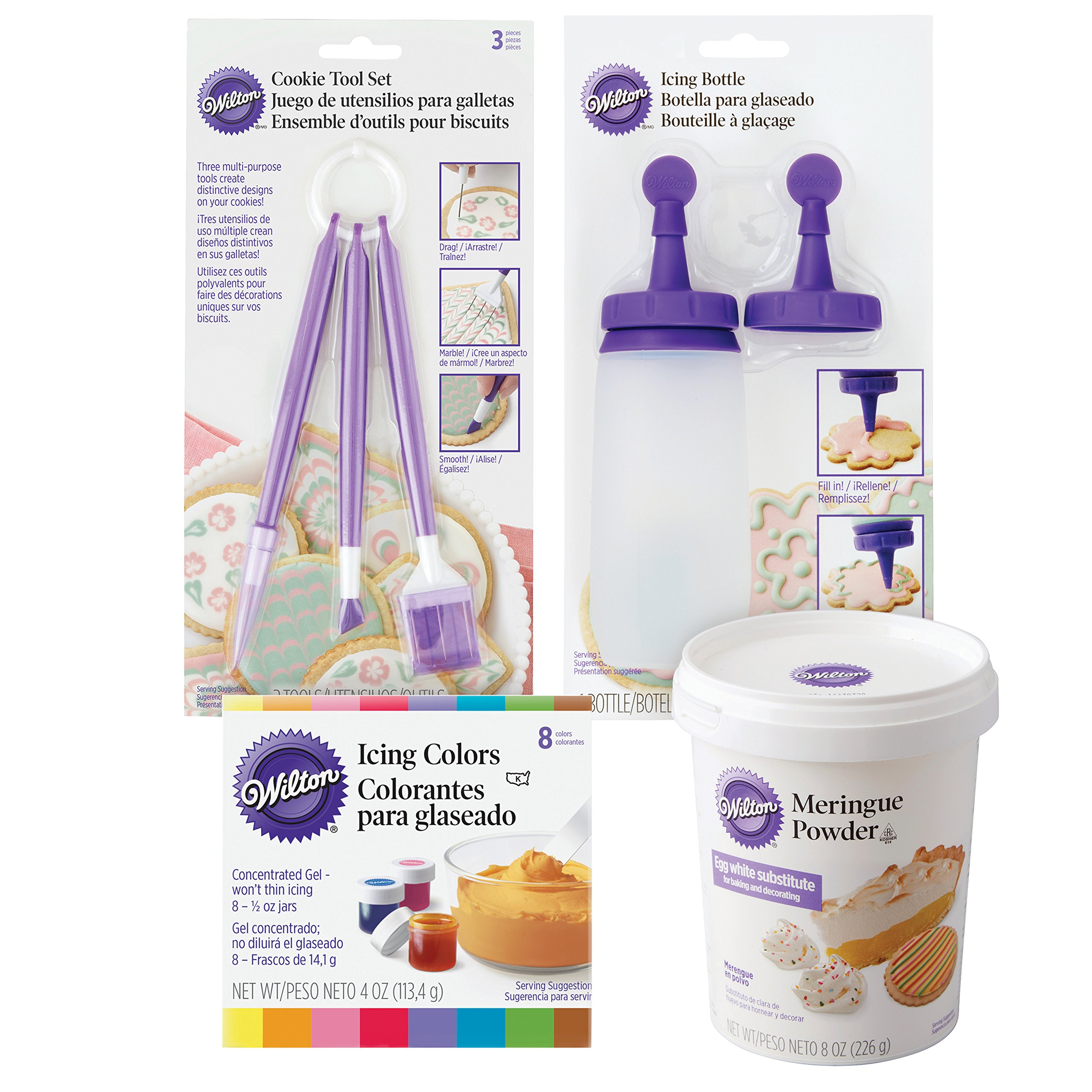 Wilton Sugar Cookie Decorating Kit, 15-Piece - Tool Set, Meringue Powder, Icing Colors, and Decorating Bottle by Wilton
