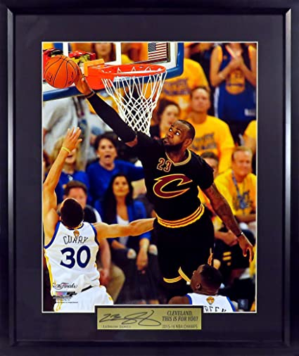 b824d5bc9a0 Cleveland Cavaliers LeBron James quot Rejecting Curry  16x20 Photograph  (SGA Signature Engraved Plate Series