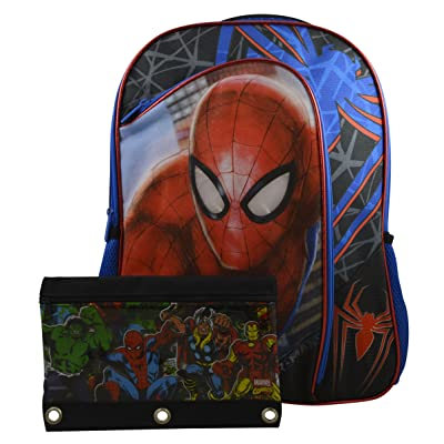 "hot sale Marvel Spiderman Light Up Eyes Boys' 16"" School Backpack Travel Bag w/ Bonus Stationery"