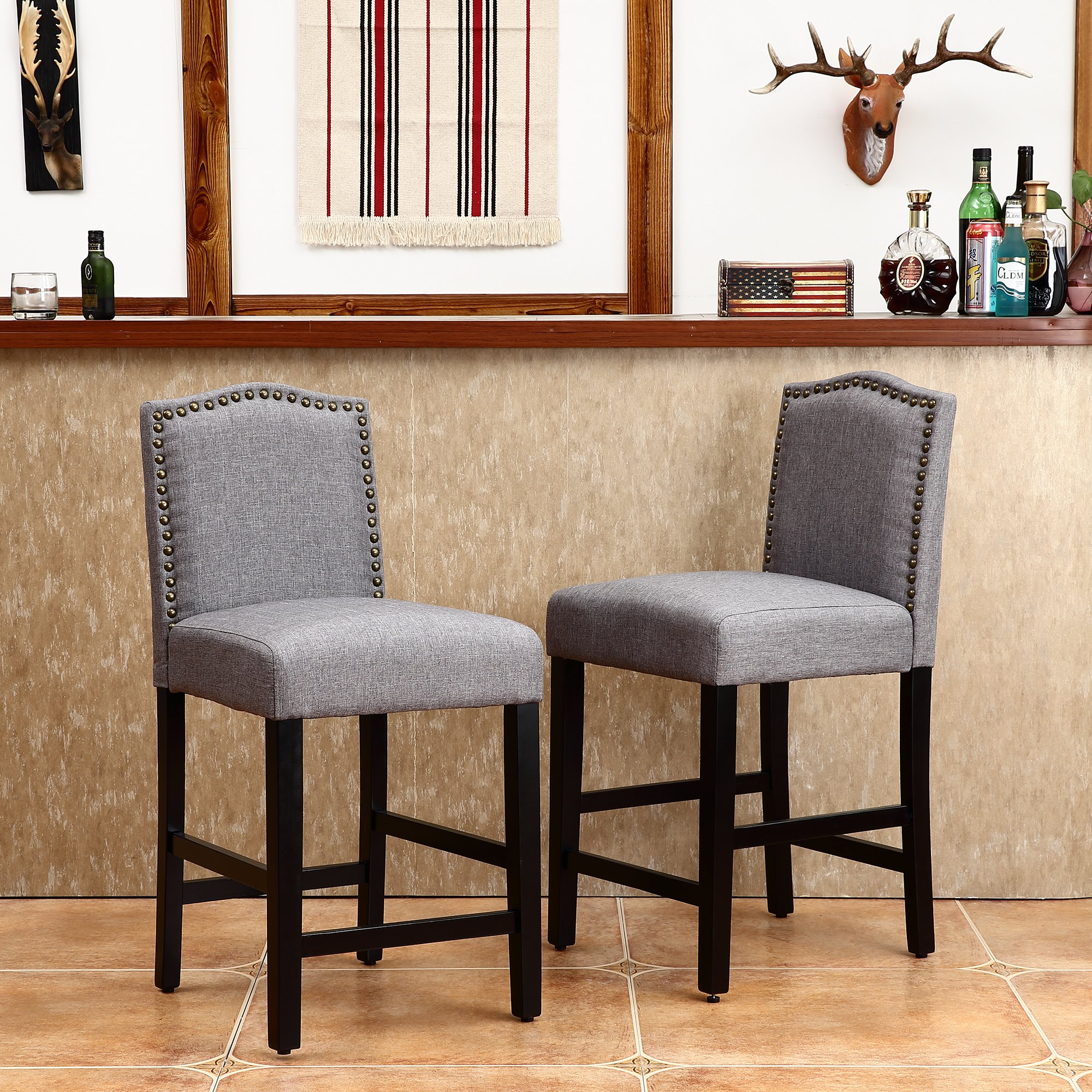 LSSBOUGHT Set of 2 Classic Fabric Barstools Dining High Counter Height Side Chairs (Seat Height: 24'', Gray)