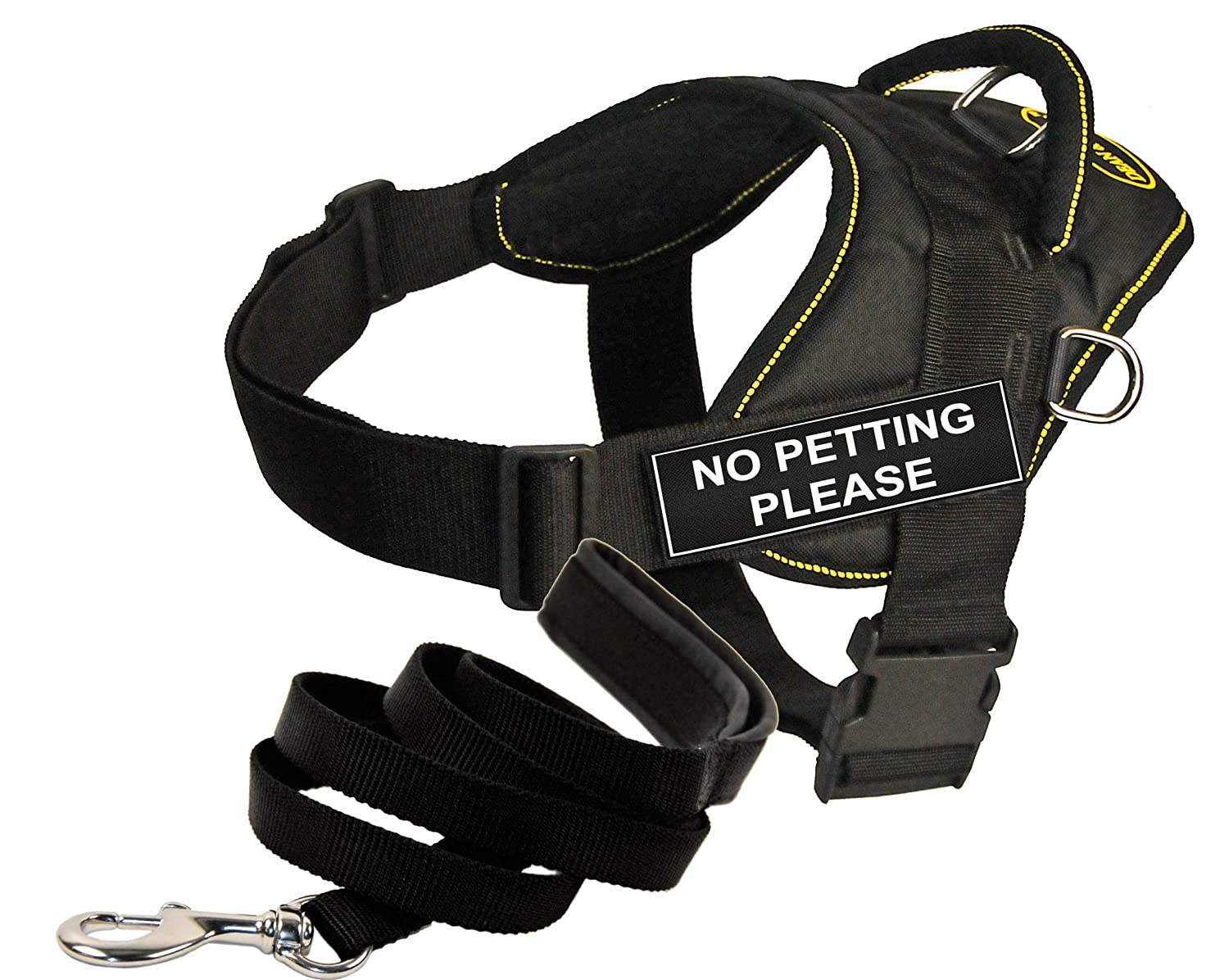 Dean and Tyler Bundle One DT Fun Works  Harness, No Petting Please, Yellow Trim, XLarge + One Padded Puppy  Leash, 6 FT Stainless Snap Black