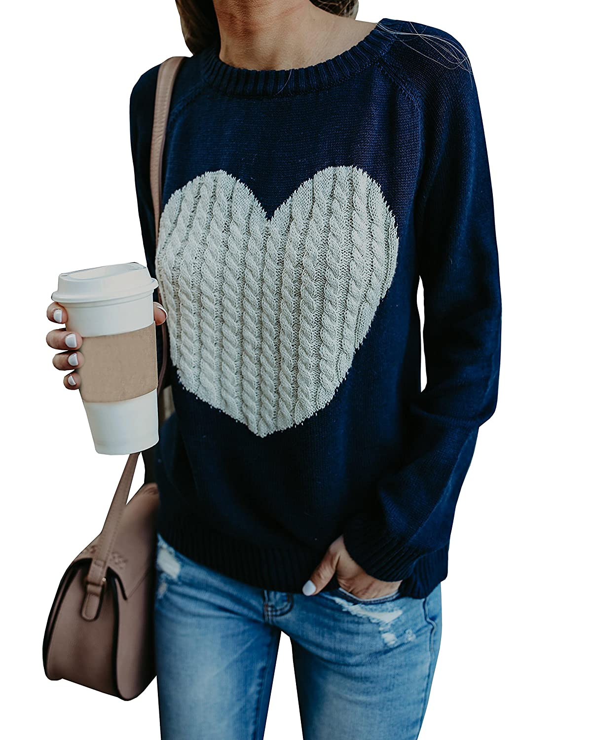 Gemijack Womens Sweaters Casual Long Sleeve Cable Knit Cute Crew Neck  Chunky Heart Pullover fd7544da1