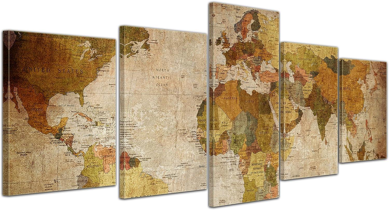 Bilderdepot24 Cuadros en Lienzo Mapa del Mundo Retro - 200x80 cm 5 Piezas - Enmarcado Listo Bastidor Imagen. Directamente Desde el Fabricante: Amazon.es: Hogar