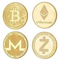 CRYPTO WARS 4x Pièce Crypto Physique, Plaquée en Véritable Or 24 Carats: Bitcoin/Ethereum/ZCash/Monero, Pour Fans de Blockchain/Cryptocurrency