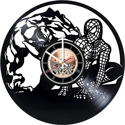 choma Spiderman Marvel Comics Vinyl Record Wall Clock – Living room wall decor – Gift ideas for boys and girls, teens Film Unique Art Design