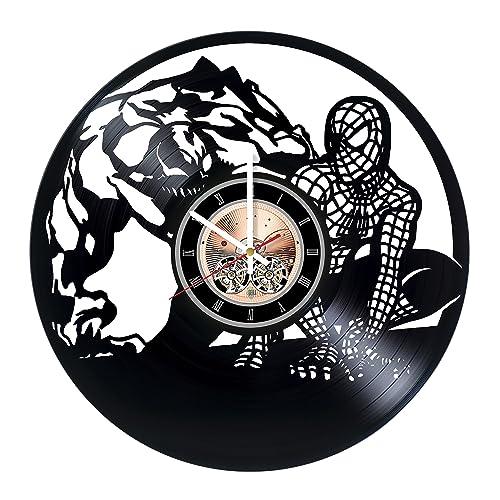 choma Spiderman Marvel Comics Vinyl Record Wall Clock – Living room wall decor – Gift ideas for boys and girls, teens Film Unique Art Design