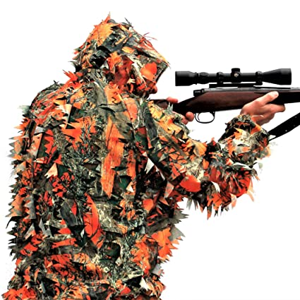 bb2e314bf175 Amazon.com   Blaze Orange 3D Leafy Camo Camouflage Ghillie Suit for Hunting  or Wildlife Photography by See3D   Sports   Outdoors