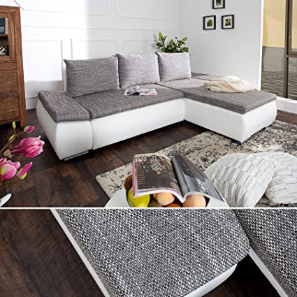 Diseño sofá Chill OUT tela gris claro blanco para sofá de ...