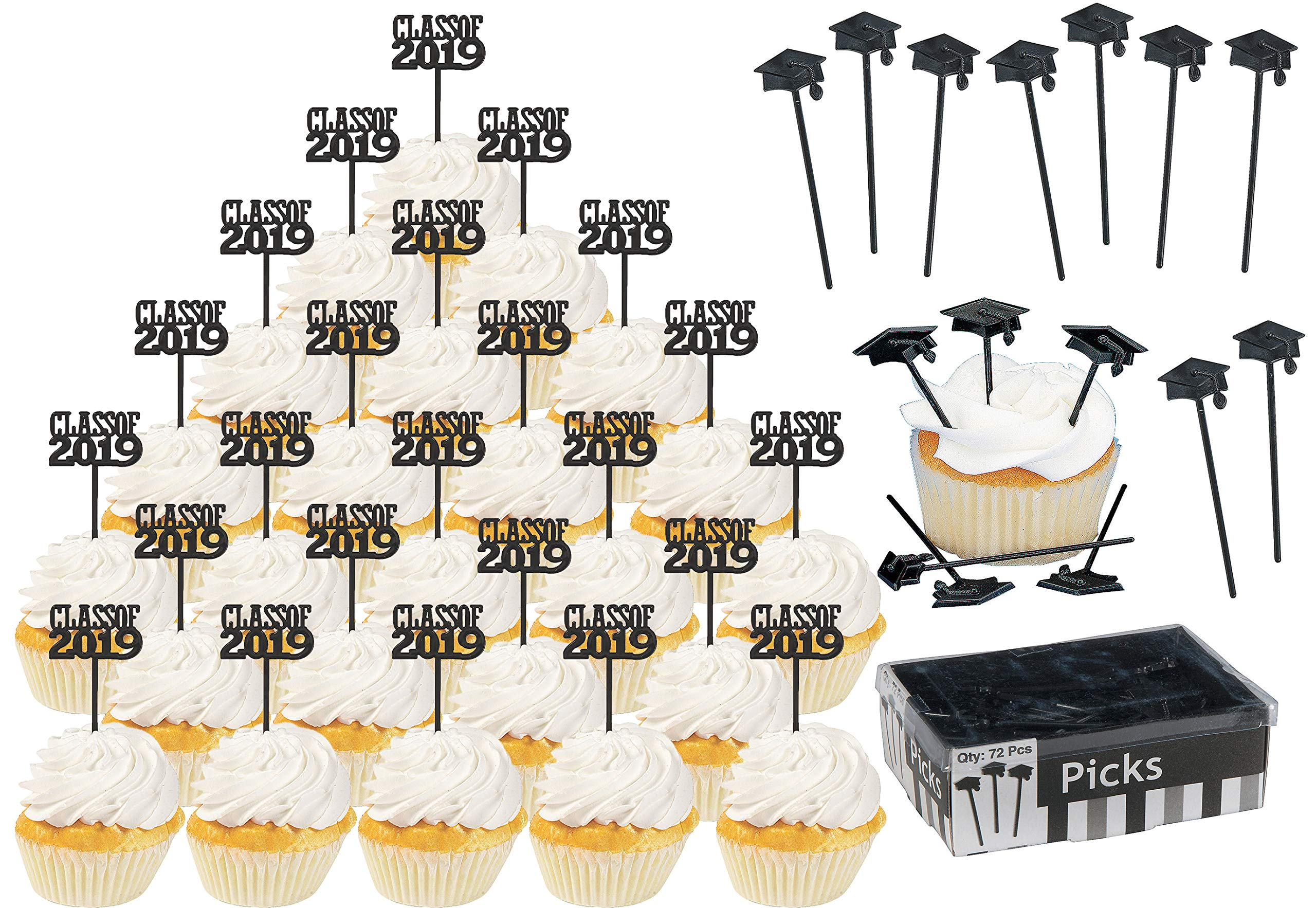 Class of 2019 Graduation Party Decorations BULK 144 Pack - 72 Class of 2019 Cupcake Picks, 72 Picks With The Cap on Top - Graduation Cupcake Picks - Cupcake topper Food Appetizer Picks