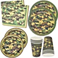 """Camo Party Supplies Set 24 9"""" Plates 24 7"""" Plates 24 9 Oz Cups 50 Luncheon Napkins Birthday Decorations Hunting, Army, Camouf"""