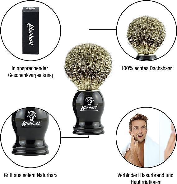 Eberbart Brocha de Afeitar de Cerdas de Tejón – Brocha de pelo ...